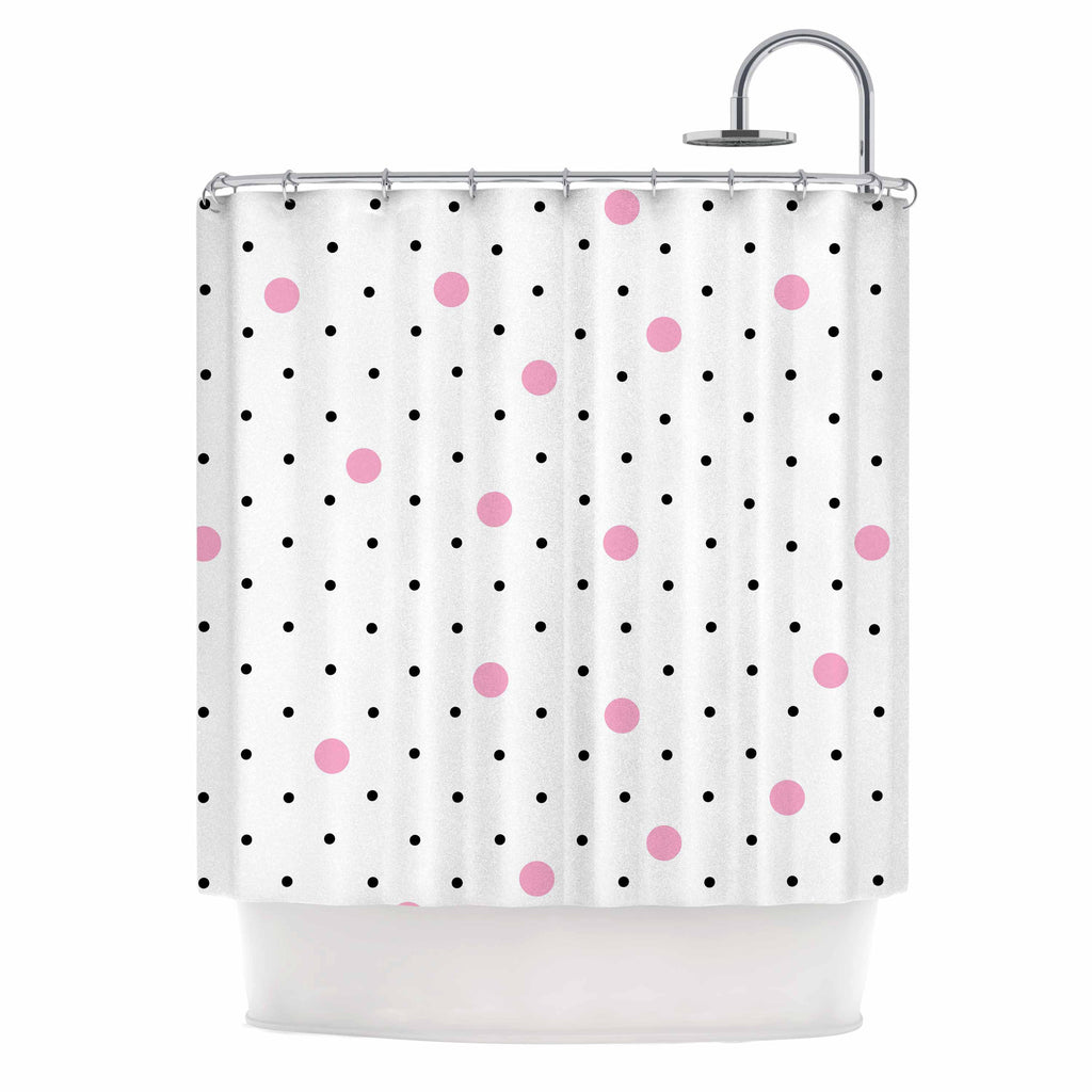 Project M Pin Points Polka Dot Pink Black Shower Curtain