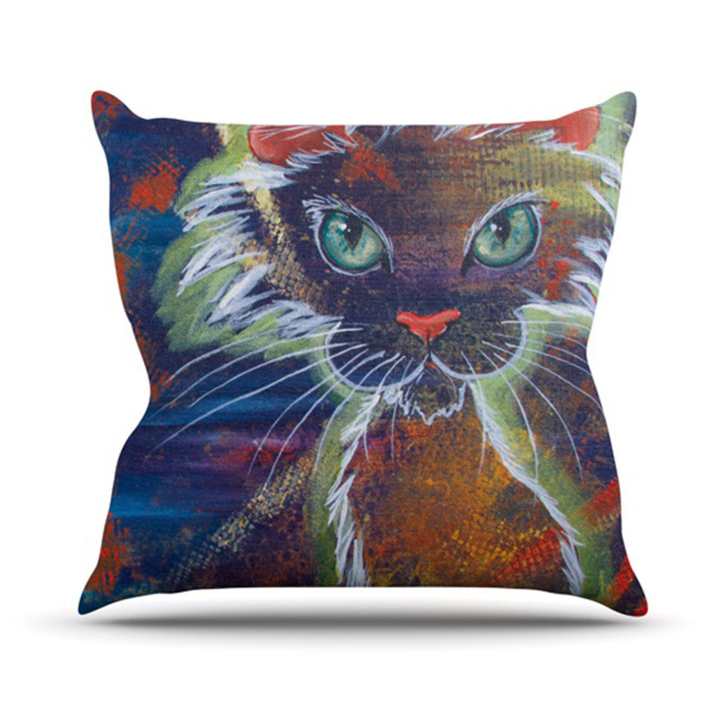 "Padgett Mason ""Rave Kitty"" Outdoor Throw Pillow - KESS InHouse  - 1"