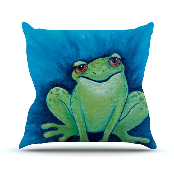 "Padgett Mason ""Ribbit Ribbit"" Throw Pillow - KESS InHouse  - 1"