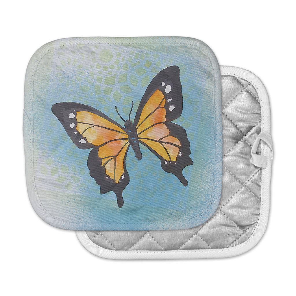 "Padgett Mason ""Summer Flutter"" Blue Orange Pot Holder"