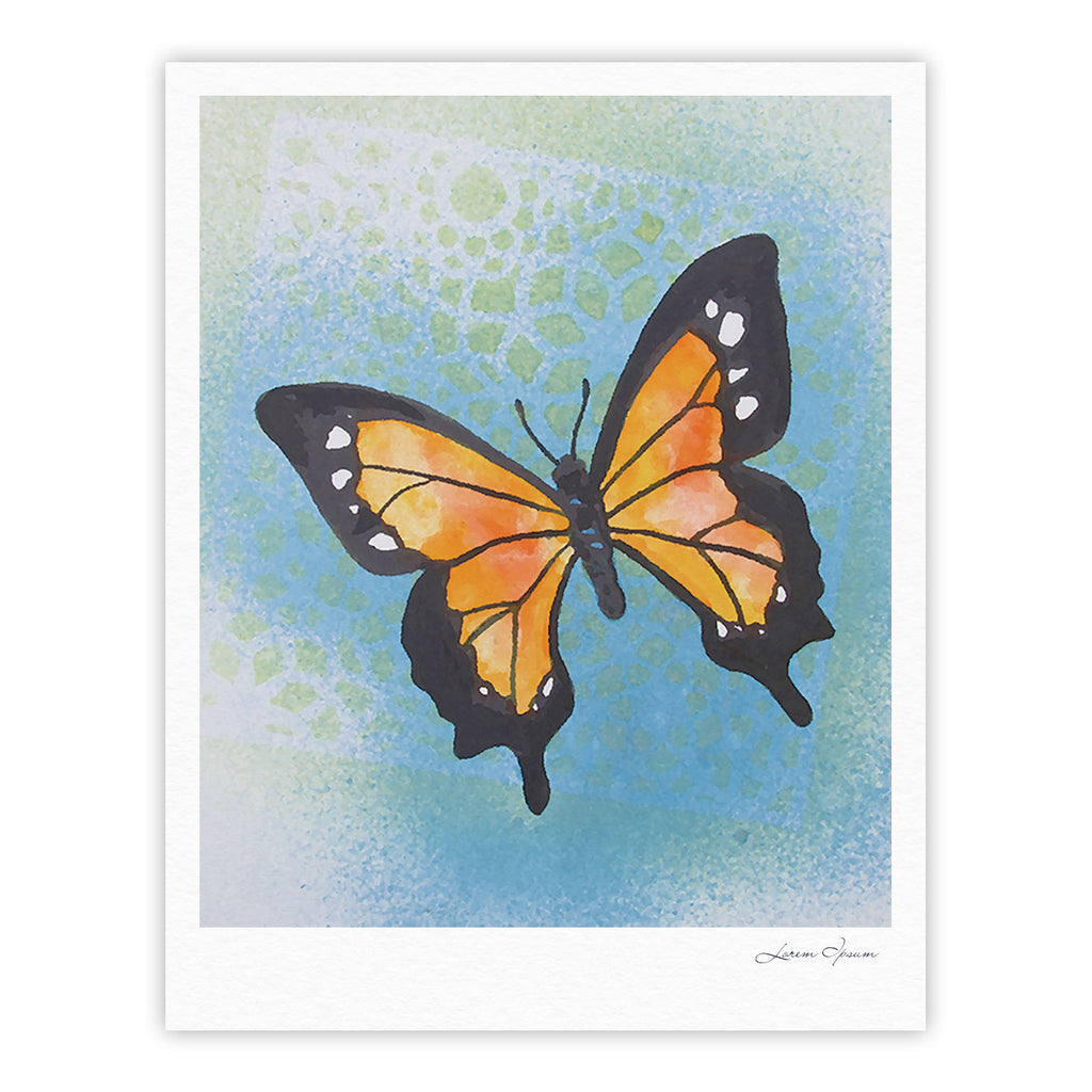 "Padgett Mason ""Summer Flutter"" Blue Orange Fine Art Gallery Print - KESS InHouse"