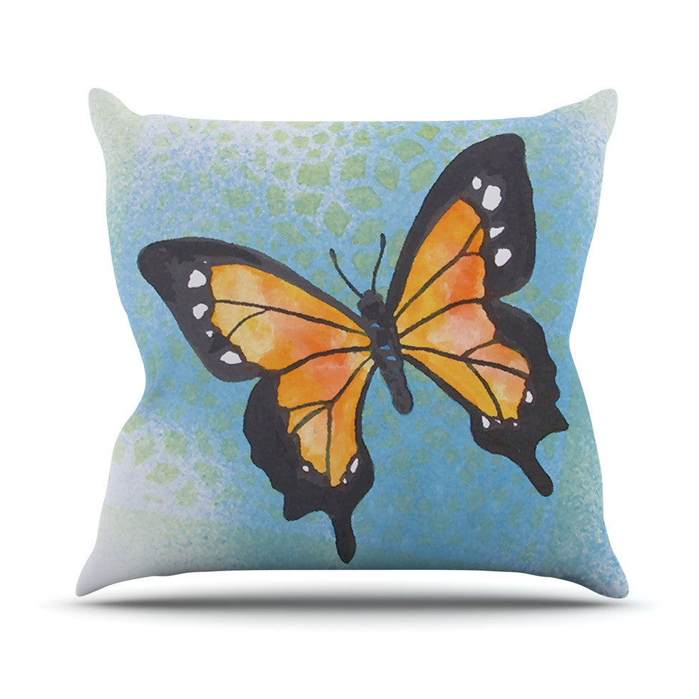 "Padgett Mason ""Summer Flutter"" Blue Orange Outdoor Throw Pillow - KESS InHouse  - 1"