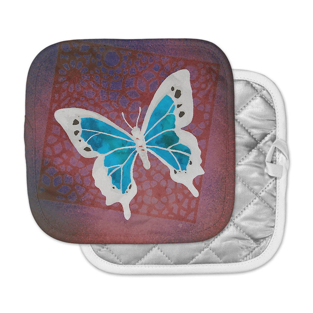 "Padgett Mason ""Teal Flutter"" Maroon Aqua Pot Holder"