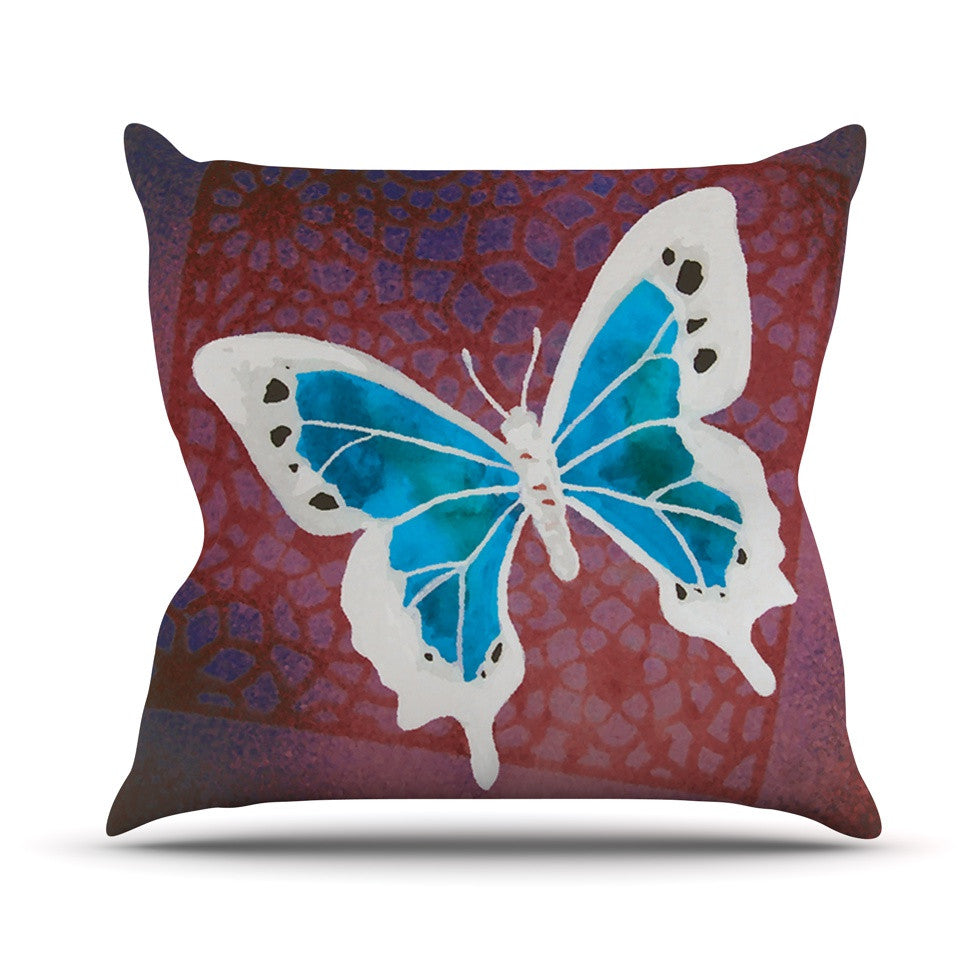 "Padgett Mason ""Teal Flutter"" Maroon Aqua Throw Pillow - KESS InHouse  - 1"