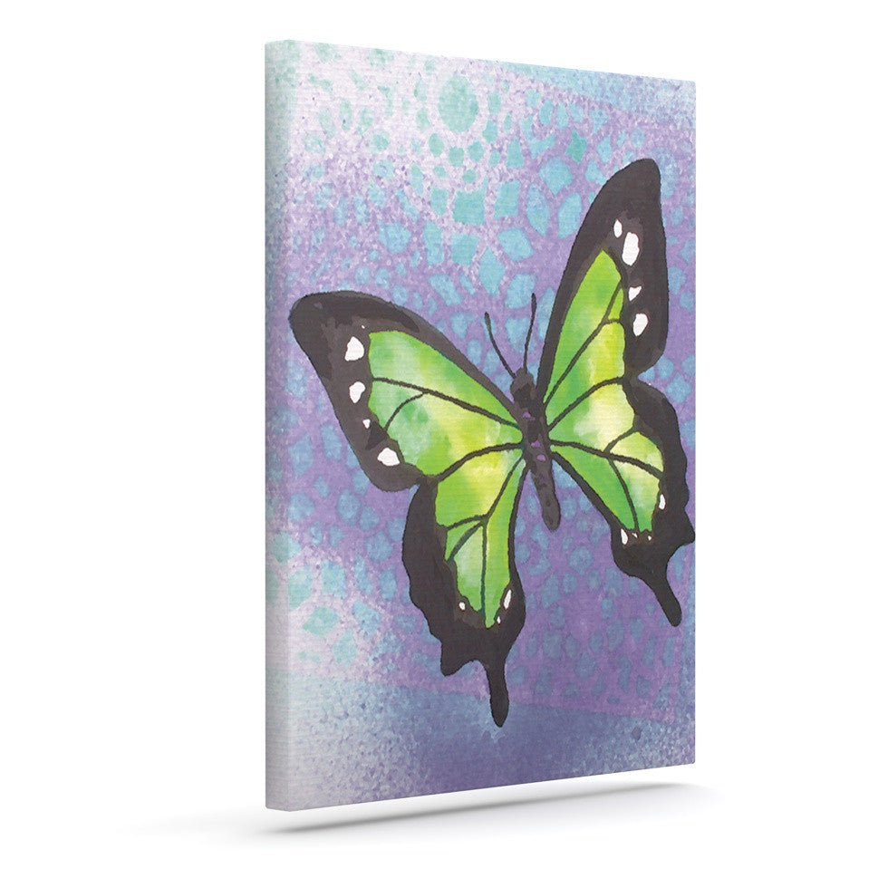 "Padgett Mason ""Lime Green Flutter"" Purple Lavender Canvas Art - KESS InHouse  - 1"