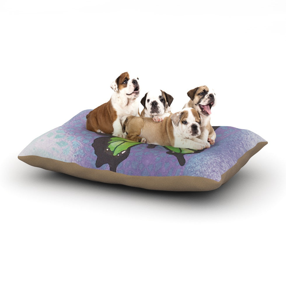 "Padgett Mason ""Lime Green Flutter"" Purple Lavender Dog Bed - KESS InHouse  - 1"