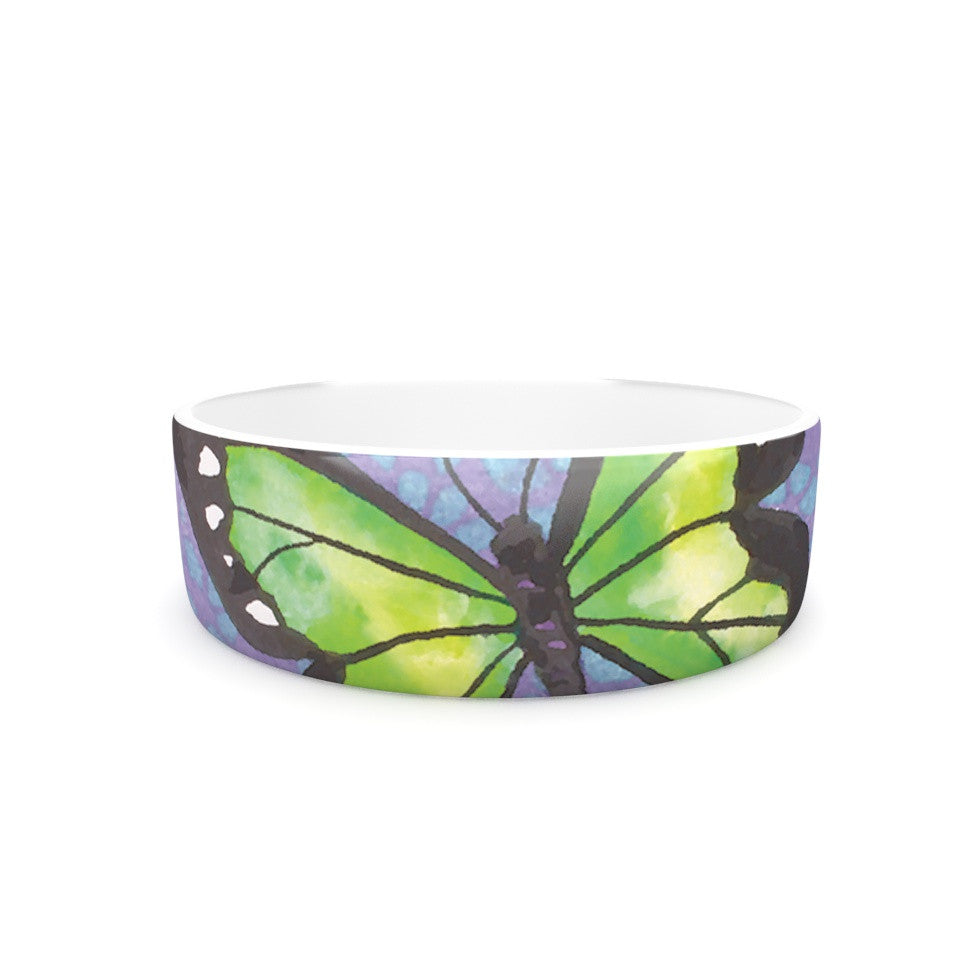 "Padgett Mason ""Lime Green Flutter"" Purple Lavender Pet Bowl - KESS InHouse"