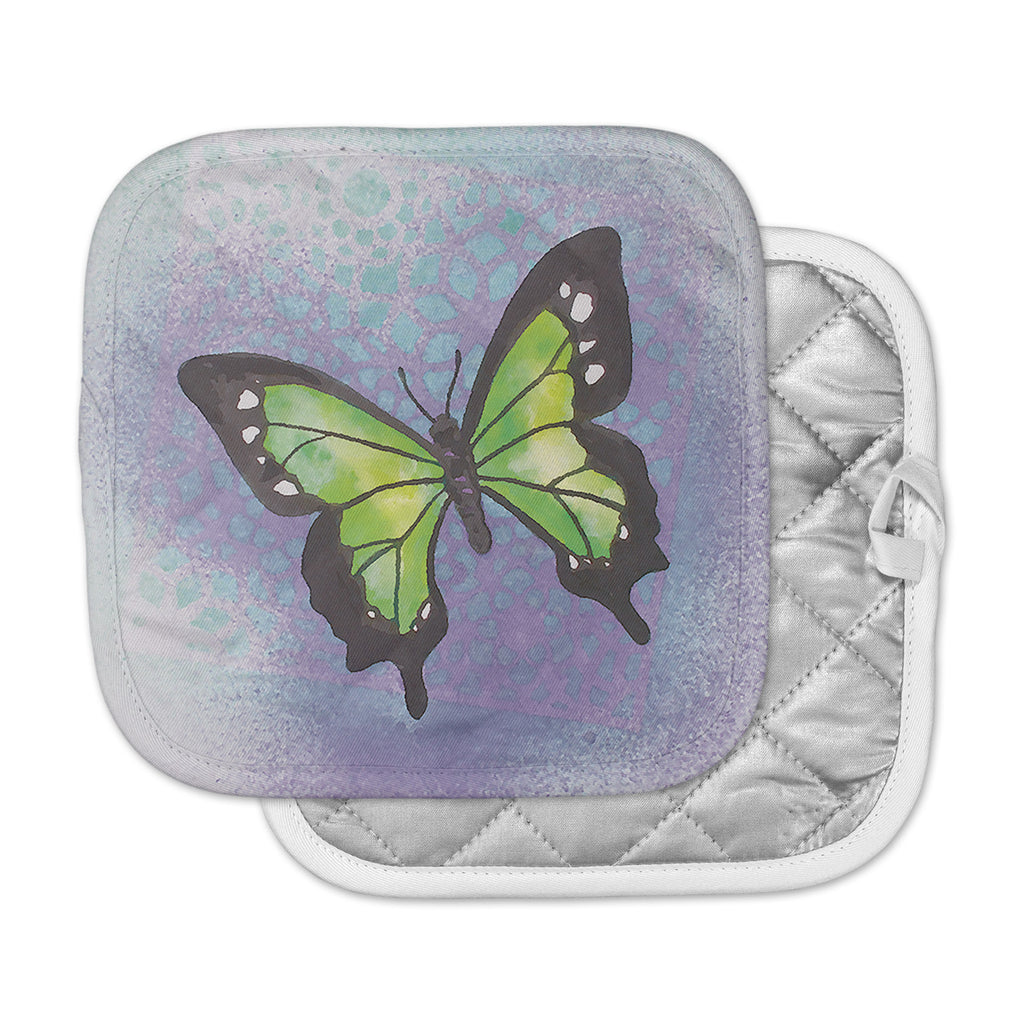 "Padgett Mason ""Lime Green Flutter"" Purple Lavender Pot Holder"