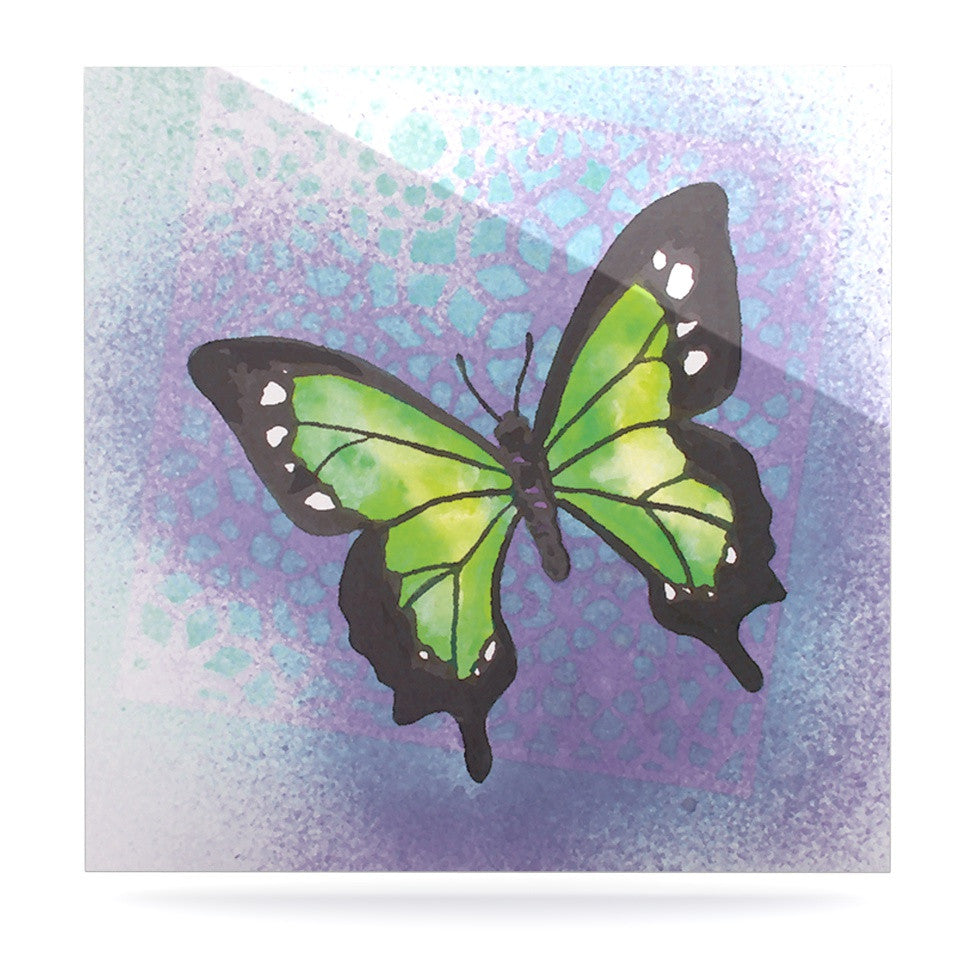 "Padgett Mason ""Lime Green Flutter"" Purple Lavender Luxe Square Panel - KESS InHouse  - 1"