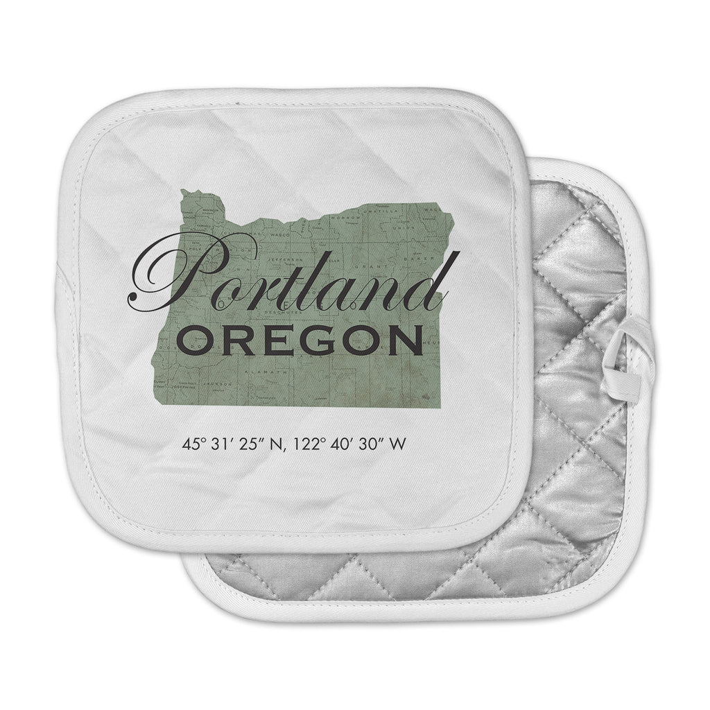 "Juan Paolo ""Portland Coordinates"" Green White Pot Holder"