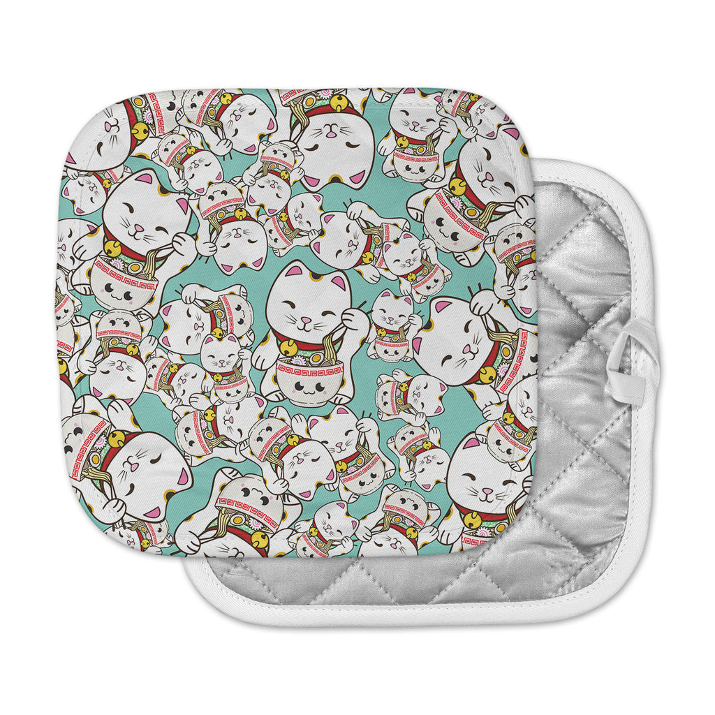 "Juan Paolo ""Ramen Cats"" Teal White Pot Holder"