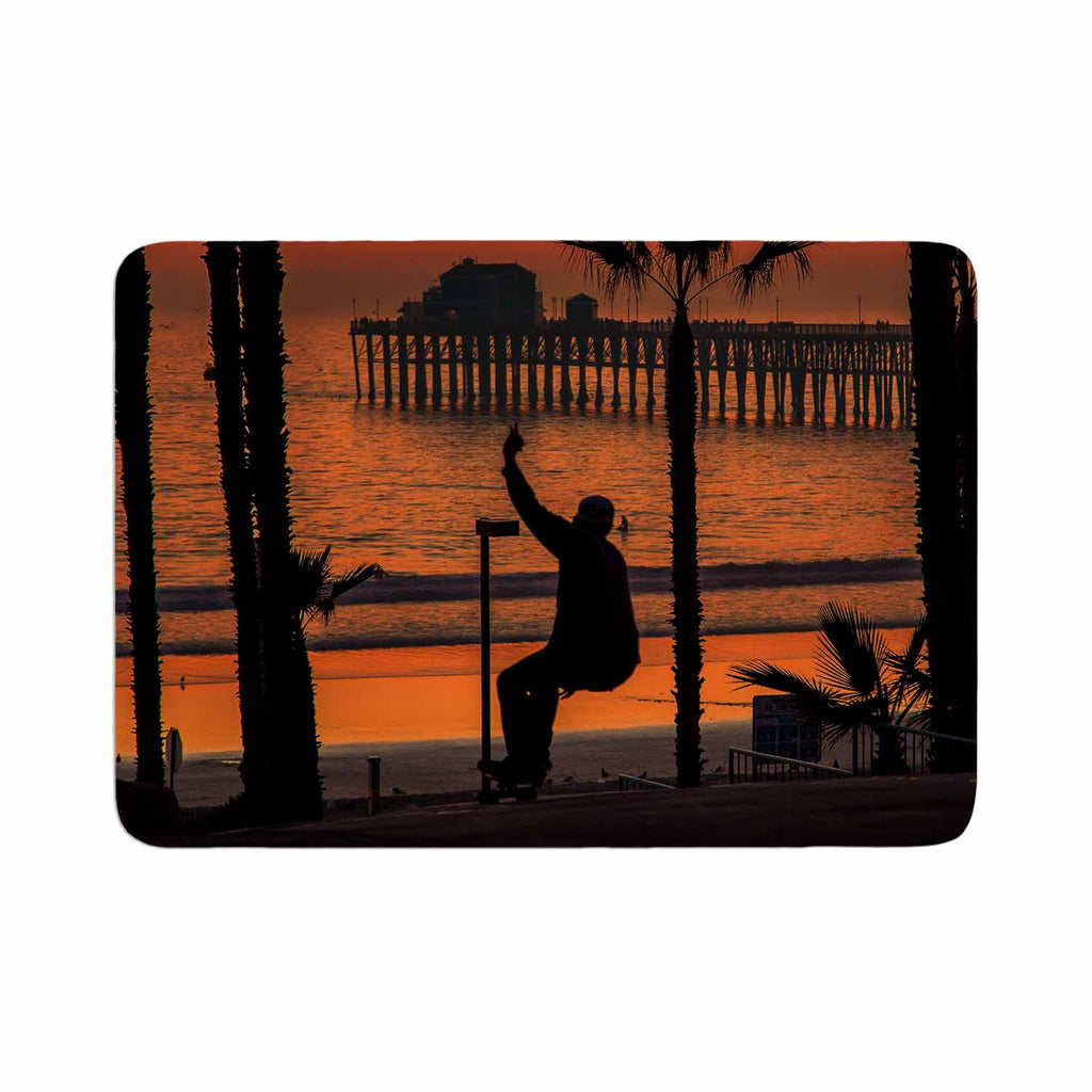 "Juan Paolo ""Endless Summer"" Orange Black Memory Foam Bath Mat - KESS InHouse"