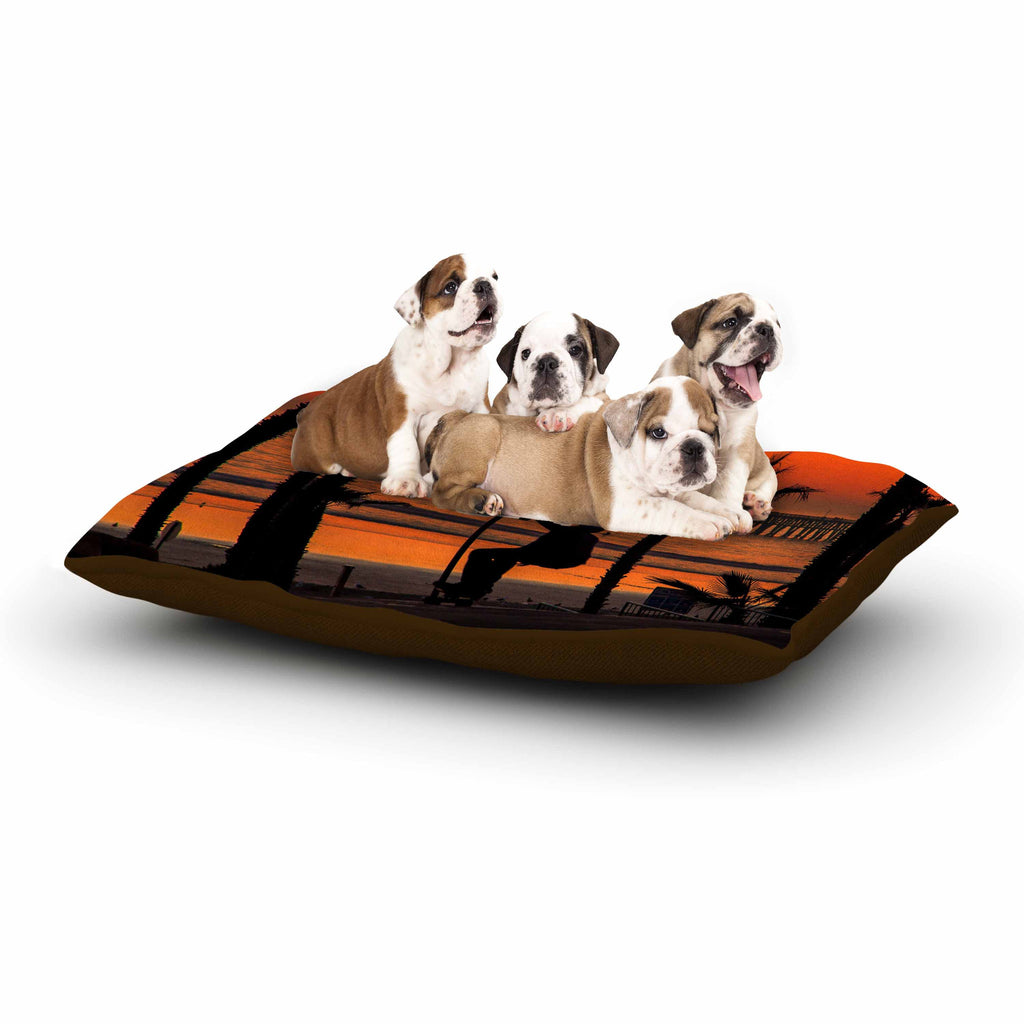 "Juan Paolo ""Endless Summer"" Orange Black Dog Bed - KESS InHouse  - 1"