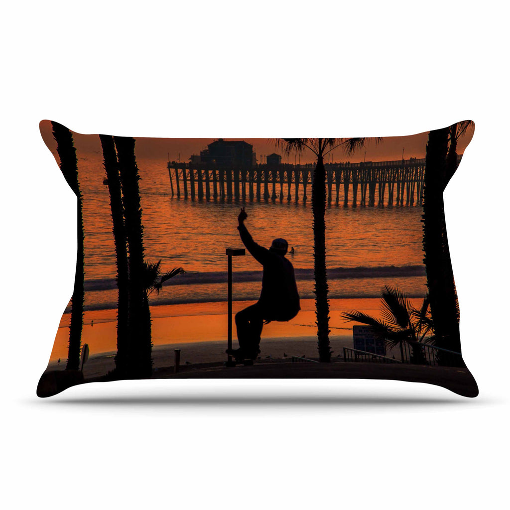 "Juan Paolo ""Endless Summer"" Orange Black Pillow Sham - KESS InHouse"