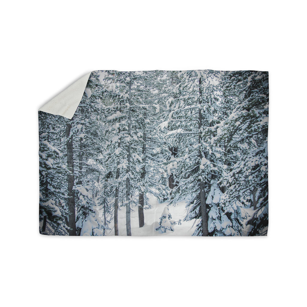 "Juan Paolo ""Winter Trials"" White Snow Sherpa Blanket - KESS InHouse  - 1"