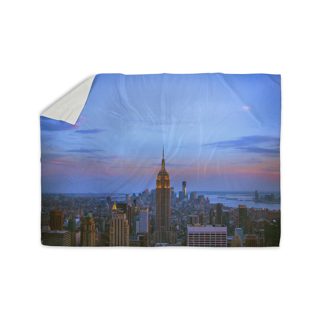 "Juan Paolo ""Empire State Of Mind"" Blue Multicolor Sherpa Blanket - KESS InHouse  - 1"
