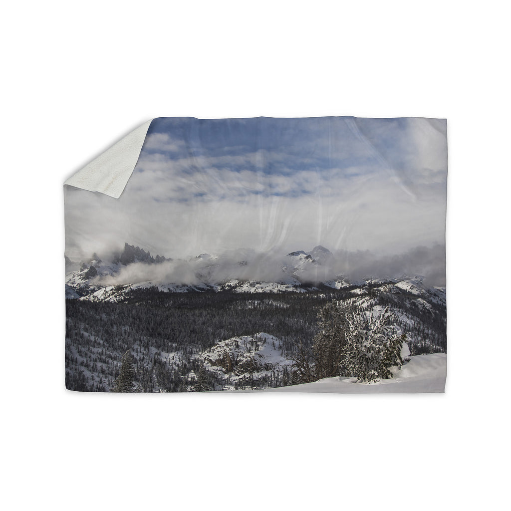 "Juan Paolo ""Top Of The Summit"" Blue White Sherpa Blanket - KESS InHouse  - 1"