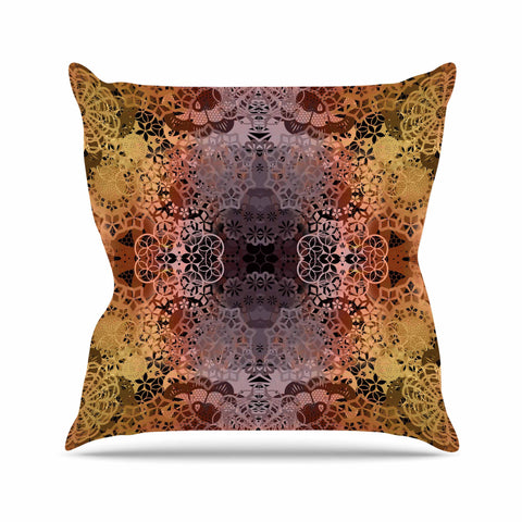 "Pia Schneider ""Floral Fall Pattern"" Maroon Floral Throw Pillow - KESS InHouse  - 1"