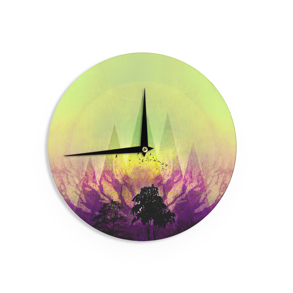 "Pia Schneider ""Trees Under Magic Mountain"" Yellow,Nature Wall Clock - KESS InHouse"