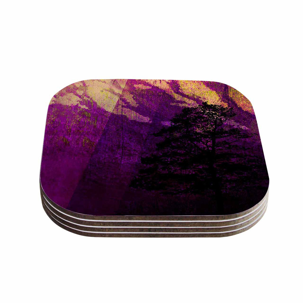 "Pia Schneider ""Trees Under Magic Mountain"" Yellow,Nature Coasters (Set of 4)"