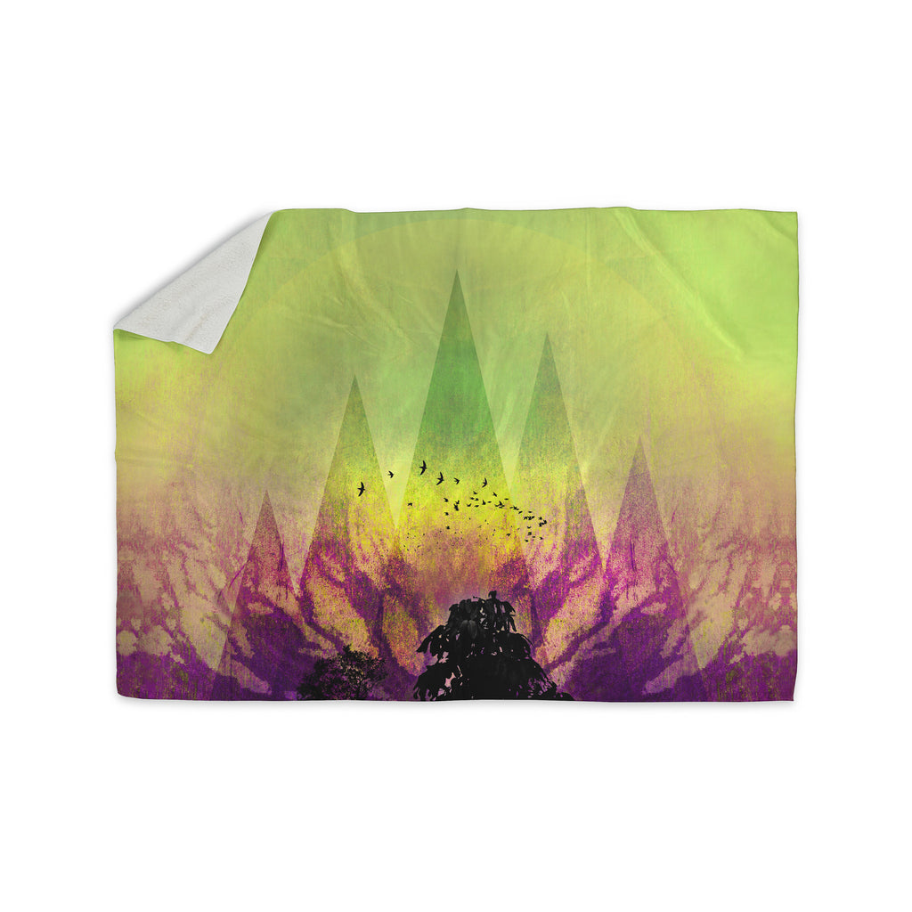 "Pia Schneider ""Trees Under Magic Mountain"" Yellow,Nature Sherpa Blanket - KESS InHouse  - 1"