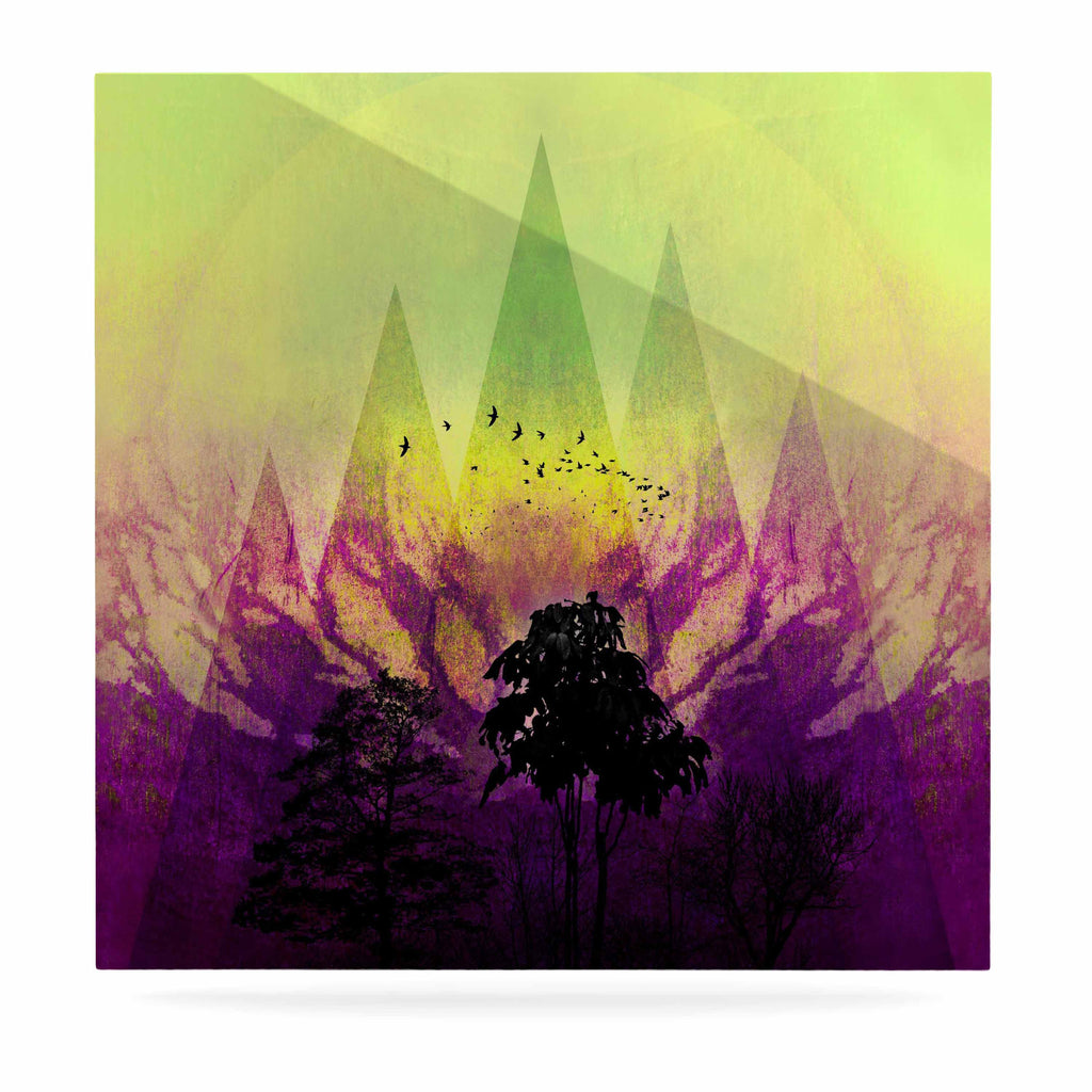 "Pia Schneider ""Trees Under Magic Mountain"" Yellow,Nature Luxe Square Panel - KESS InHouse  - 1"