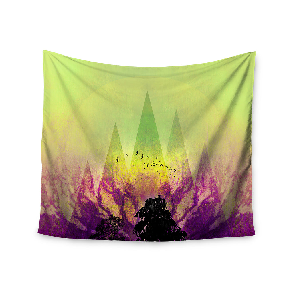"Pia Schneider ""Trees Under Magic Mountain"" Yellow,Nature Wall Tapestry - KESS InHouse  - 1"