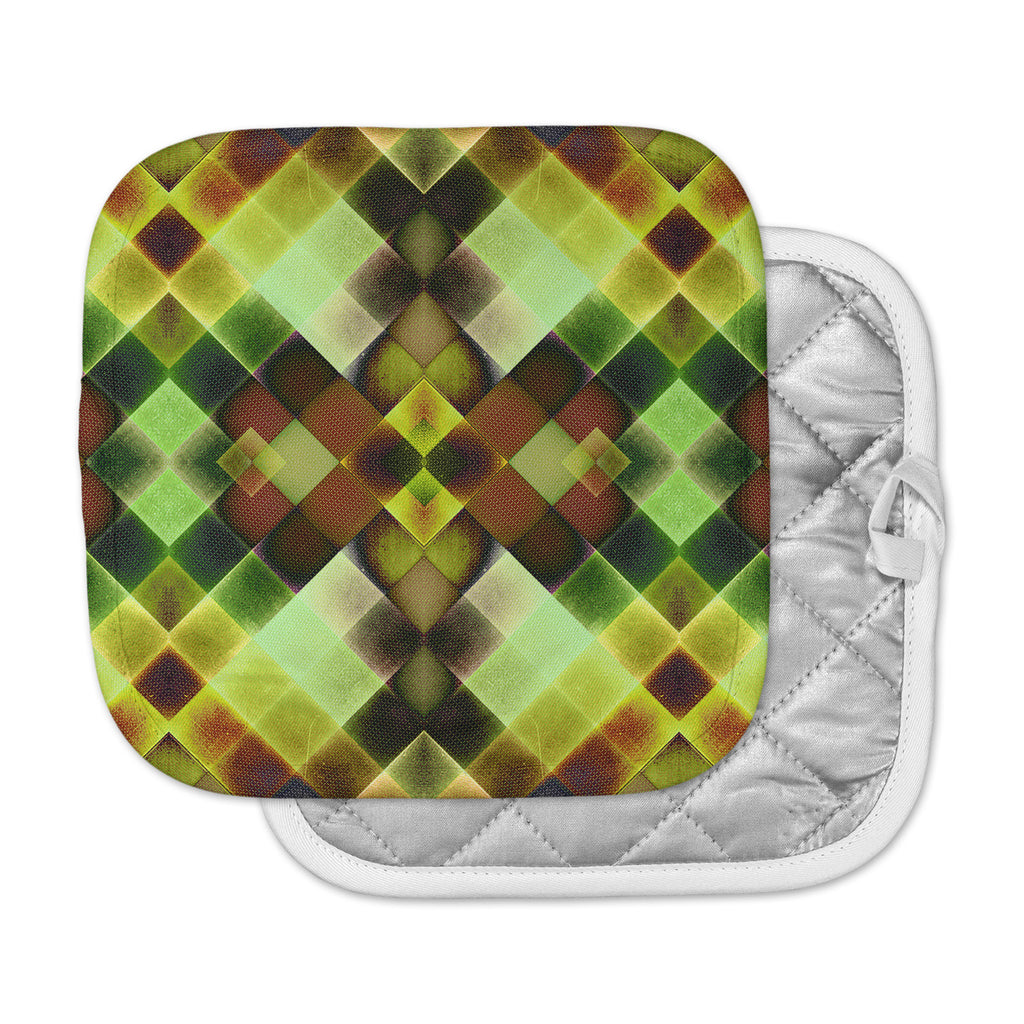 "Pia Schneider ""Colorful Squares"" Green Yellow Pot Holder"