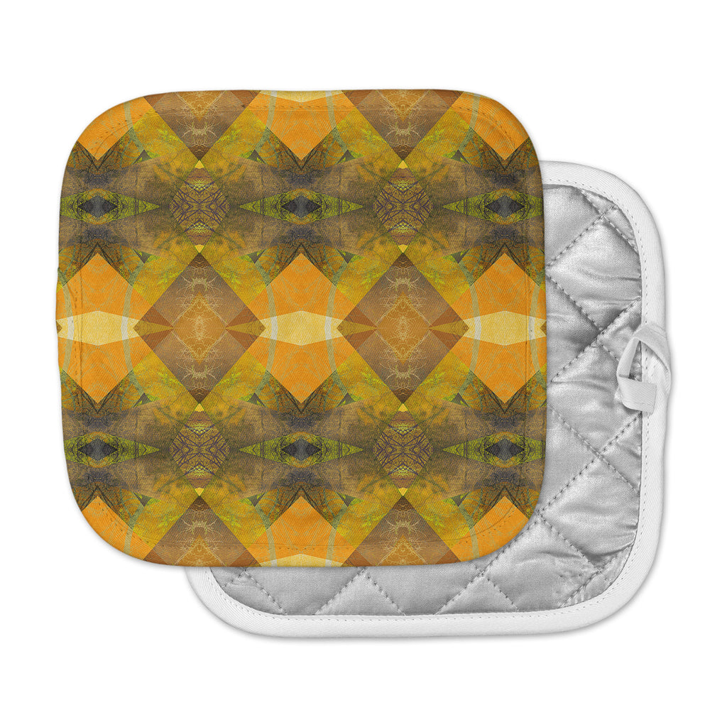 "Pia Schneider ""Pattern Garden No4"" Orange Gold Geometric Pot Holder"