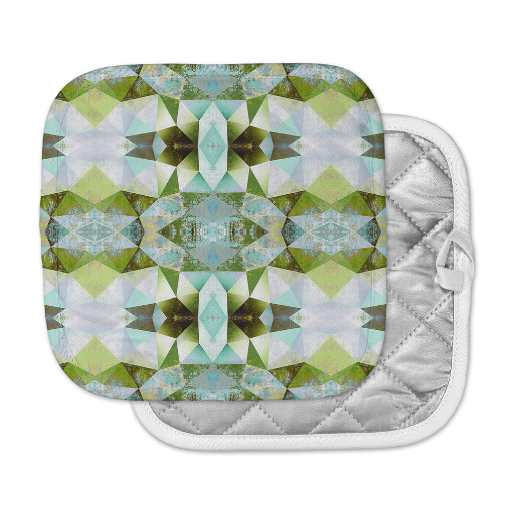 "Pia Schneider ""Polygon Diamond III"" Green Blue Vector Pot Holder"