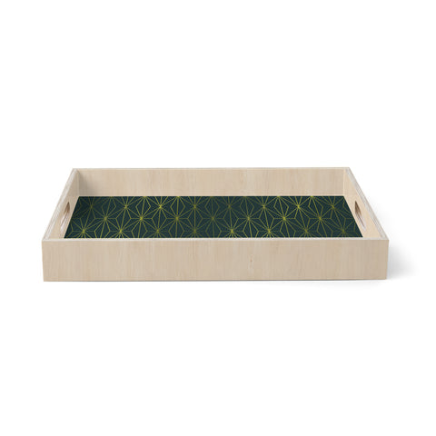 "Pia Schneider ""PASSIONATE GREEN GEOMETRICAL"" Green Gold Pattern Geometric Vector Digital Birchwood Tray"