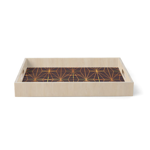 "Pia Schneider ""COPPER GOLD BLACK BEAN PATTERN"" Gold Brown Pattern Geometric Vector Digital Birchwood Tray"