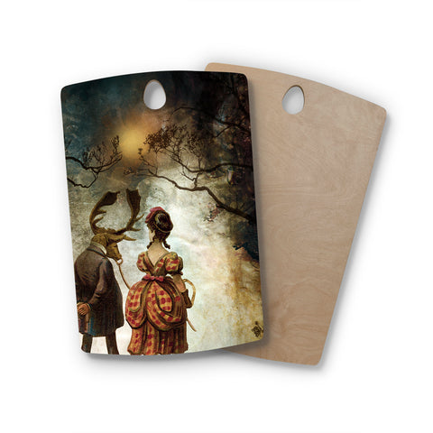 "Pia Schneider ""AUTUMNAL VINTAGE COUPLE WALK"" Multicolor White People Vintage Illustration Mixed Media Rectangle Wooden Cutting Board"