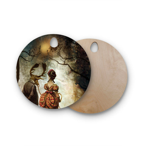 "Pia Schneider ""AUTUMNAL VINTAGE COUPLE WALK"" Multicolor White People Vintage Illustration Mixed Media Round Wooden Cutting Board"