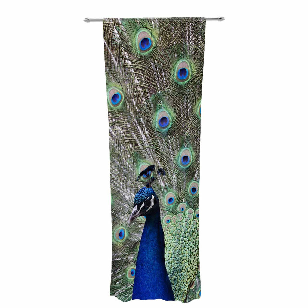 "Qing Ji ""Peacock of Stunning Feathers"" Brown Green Decorative Sheer Curtain - KESS InHouse  - 1"