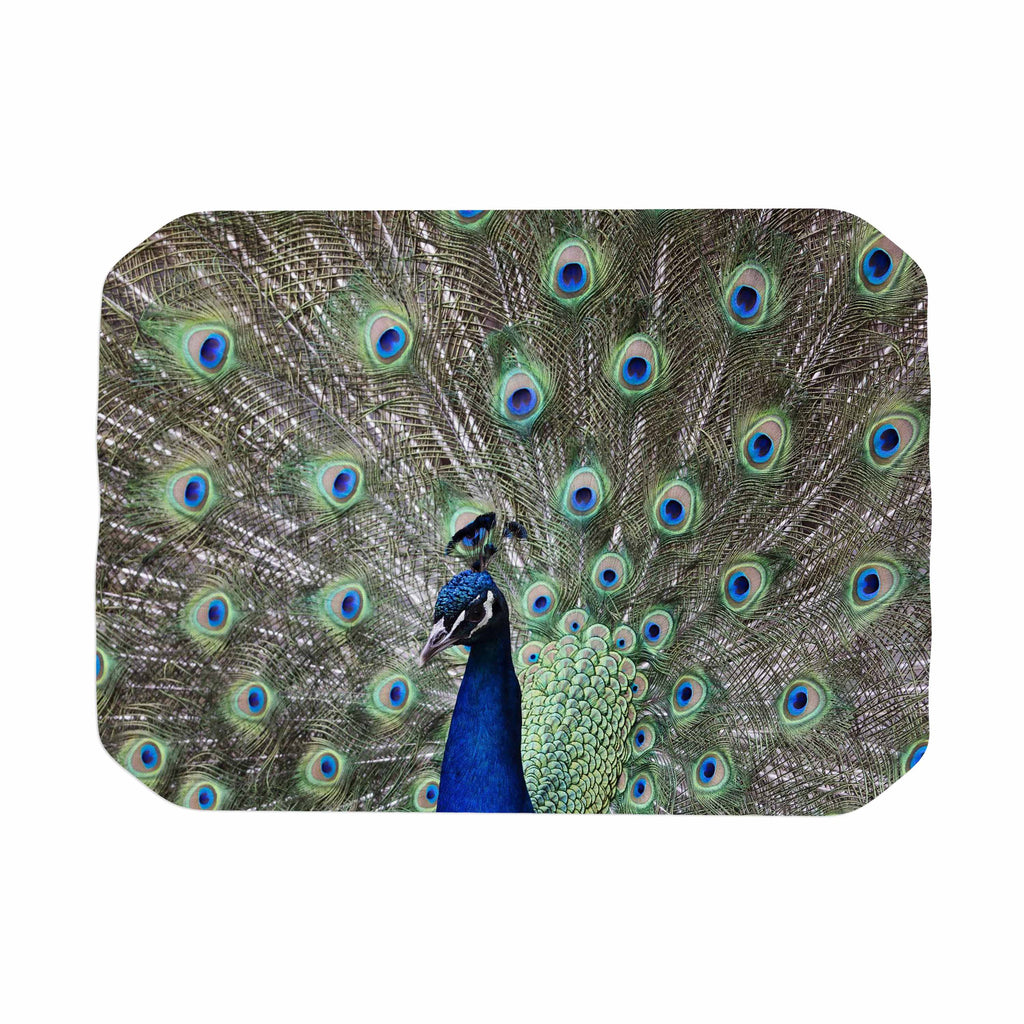 "Qing Ji ""Peacock of Stunning Feathers"" Brown Green Place Mat - KESS InHouse"