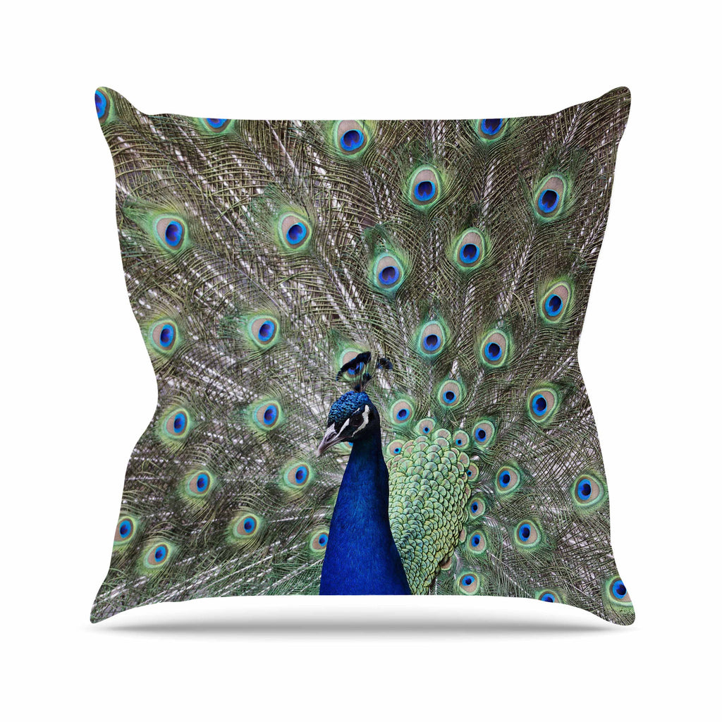 "Qing Ji ""Peacock of Stunning Feathers"" Brown Green Throw Pillow - KESS InHouse  - 1"