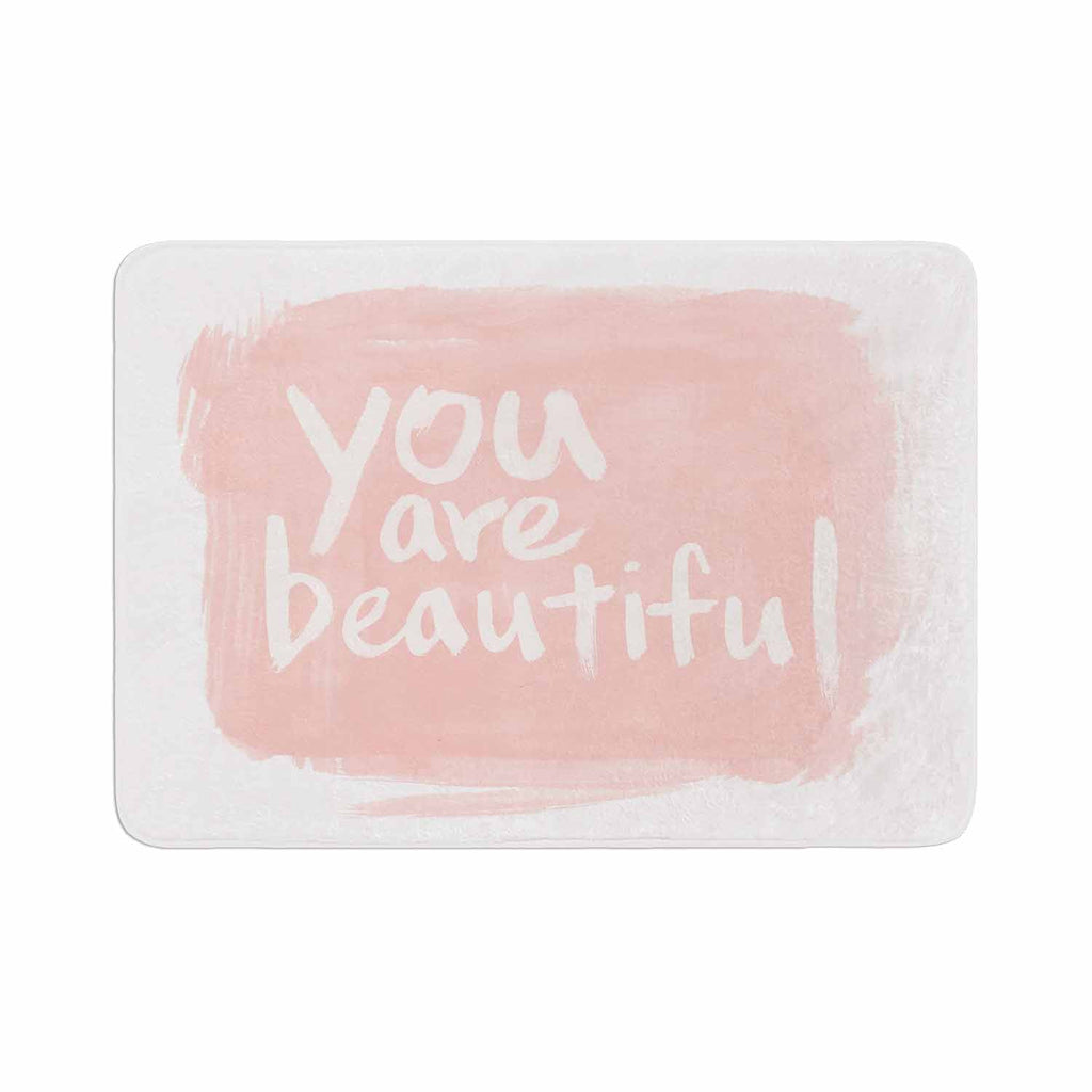 "Qing Ji ""Brush Lettering Beautiful"" Peach White Memory Foam Bath Mat - KESS InHouse"