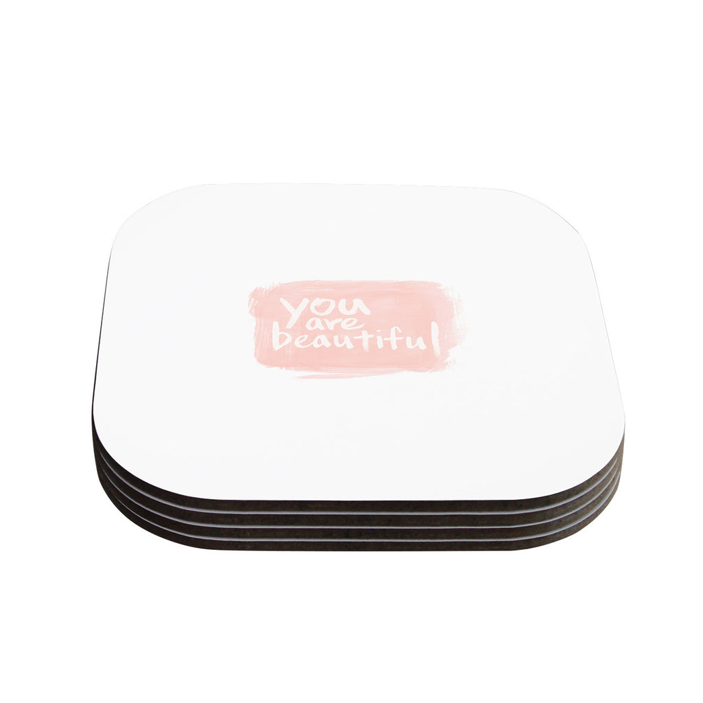 "Qing Ji ""Brush Lettering Beautiful"" Peach White Coasters (Set of 4)"
