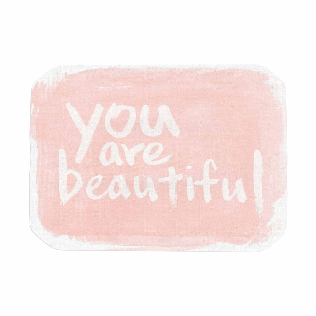 "Qing Ji ""Brush Lettering Beautiful"" Peach White Place Mat - KESS InHouse"