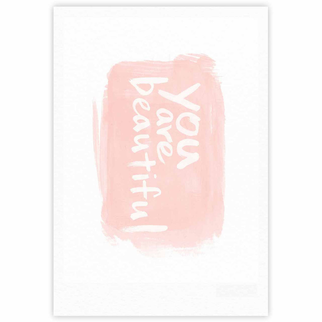 "Qing Ji ""Brush Lettering Beautiful"" Peach White Fine Art Gallery Print - KESS InHouse"