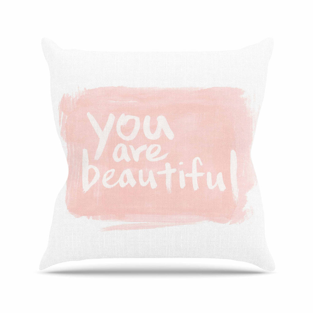 "Qing Ji ""Brush Lettering Beautiful"" Peach White Throw Pillow - KESS InHouse  - 1"