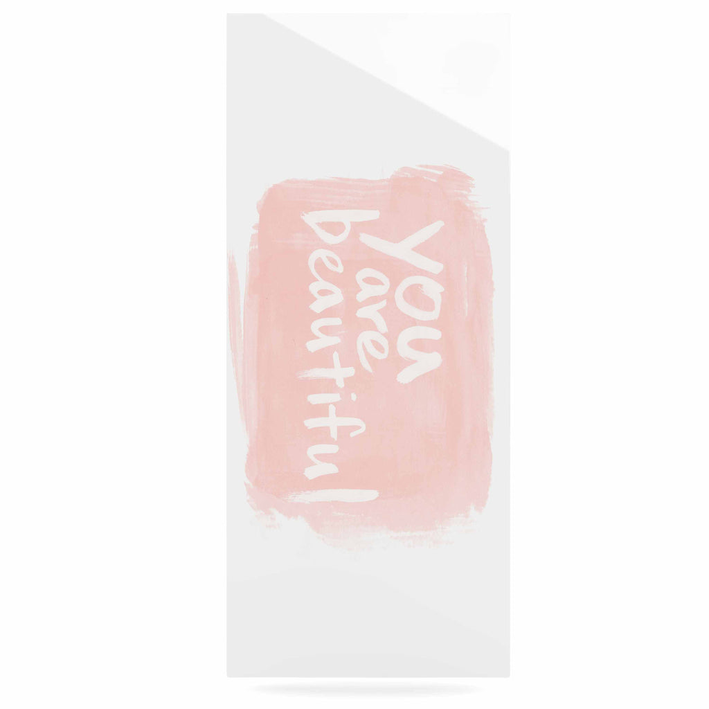 "Qing Ji ""Brush Lettering Beautiful"" Peach White Luxe Rectangle Panel - KESS InHouse  - 1"