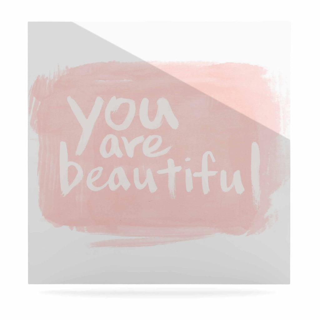 "Qing Ji ""Brush Lettering Beautiful"" Peach White Luxe Square Panel - KESS InHouse  - 1"