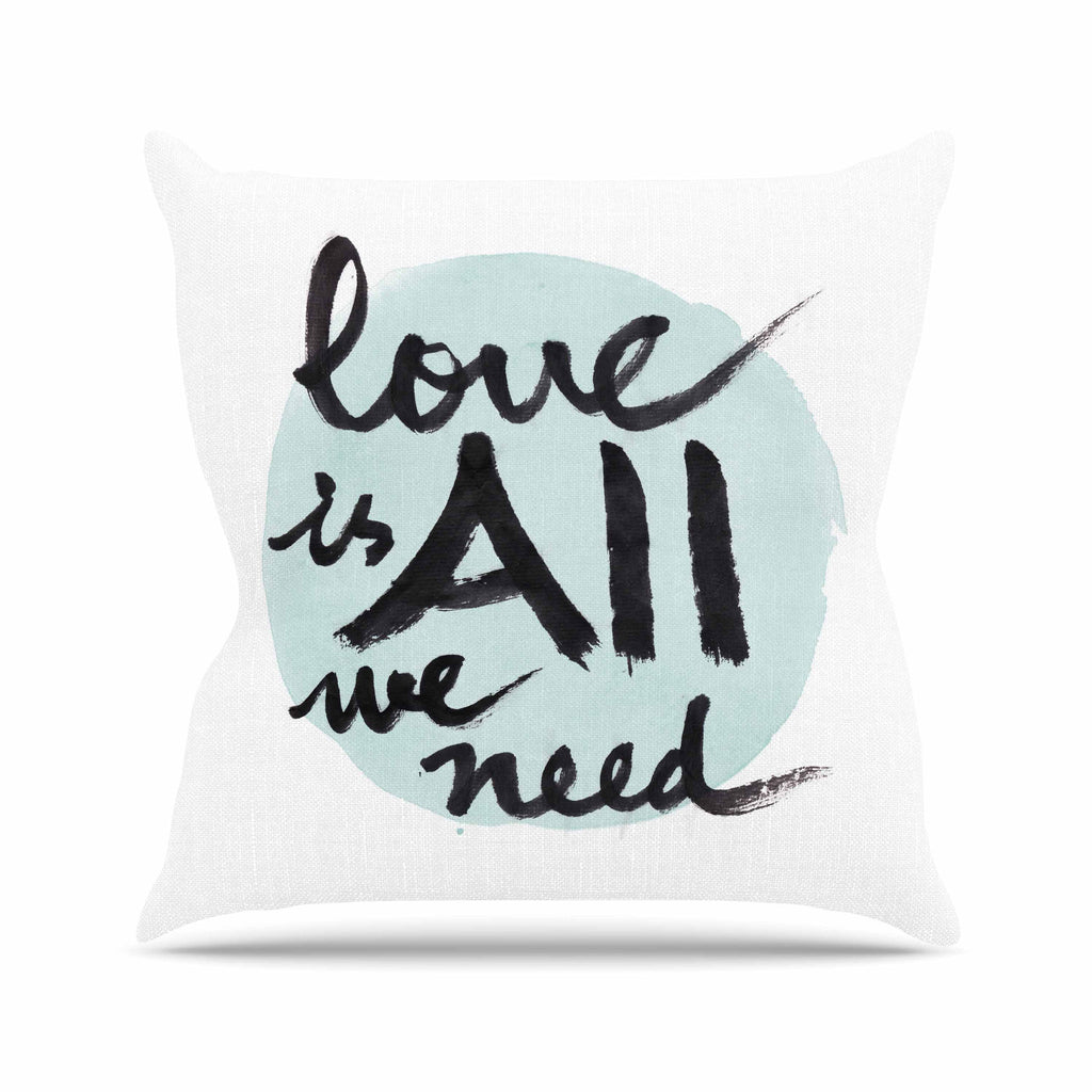 "Qing Ji ""Love Is All We Need"" Teal Black Outdoor Throw Pillow - KESS InHouse  - 1"