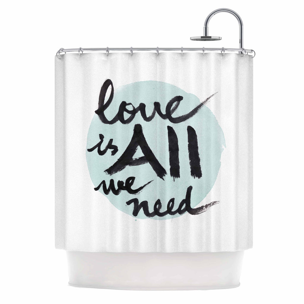 "Qing Ji ""Love Is All We Need"" Teal Black Shower Curtain - KESS InHouse"