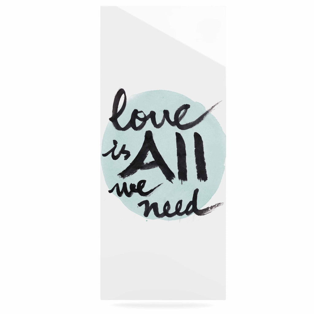 "Qing Ji ""Love Is All We Need"" Teal Black Luxe Rectangle Panel - KESS InHouse  - 1"