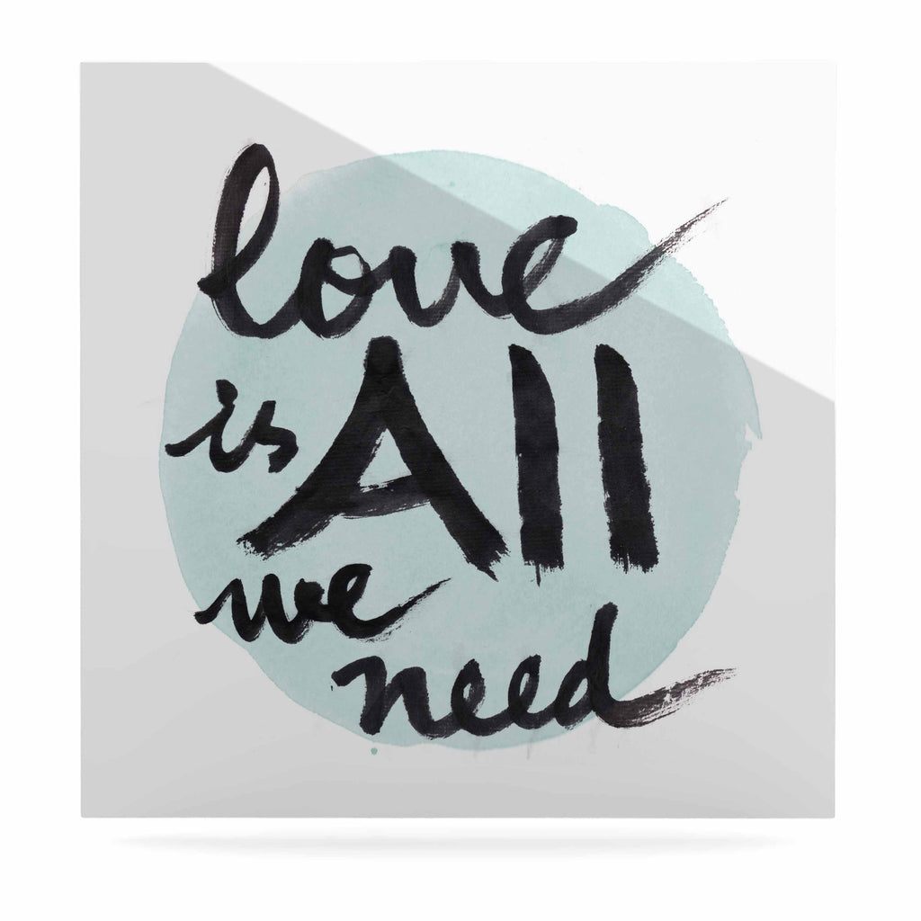 "Qing Ji ""Love Is All We Need"" Teal Black Luxe Square Panel - KESS InHouse  - 1"