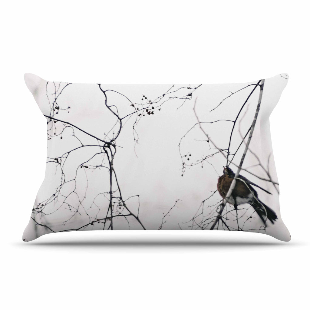 "Qing Ji ""Vintage Bird At Dusk"" Black White Pillow Sham - KESS InHouse"