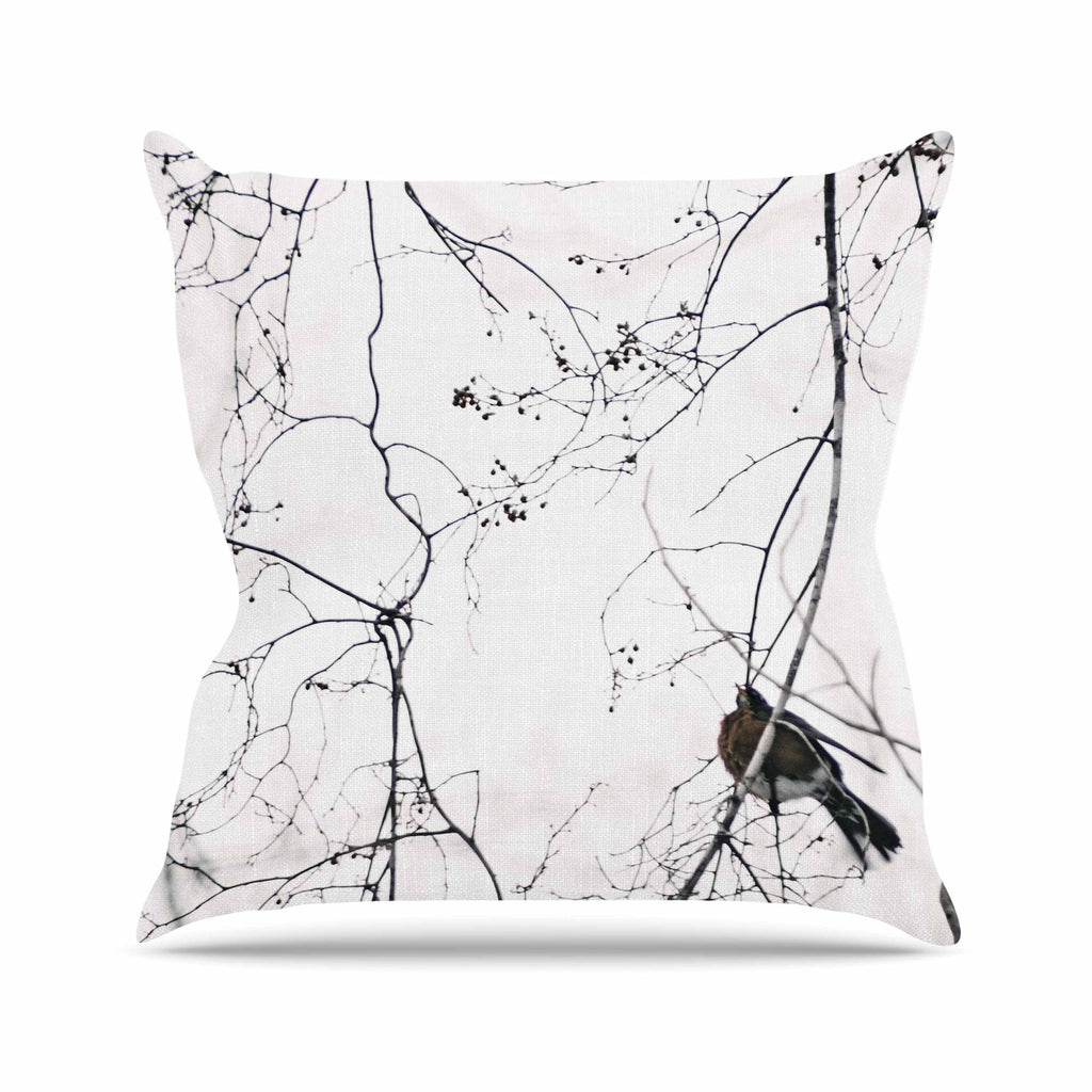 "Qing Ji ""Vintage Bird At Dusk"" Black White Outdoor Throw Pillow - KESS InHouse  - 1"